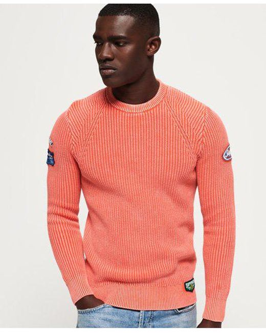 Superdry - Orange Garment Dye Wash Texture Crew Jumper for Men - Lyst