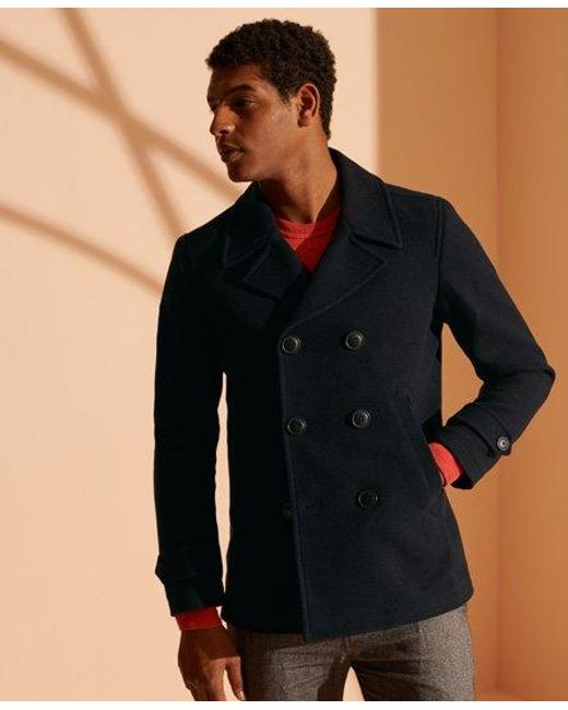 Wool Foundation Double Ted Peacoat, Superdry Classic Pea Coat Navy