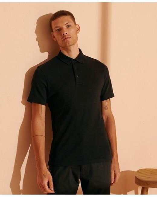 Superdry Black Cult Studios Limited Edition Pima Cotton Polo Shirt for men