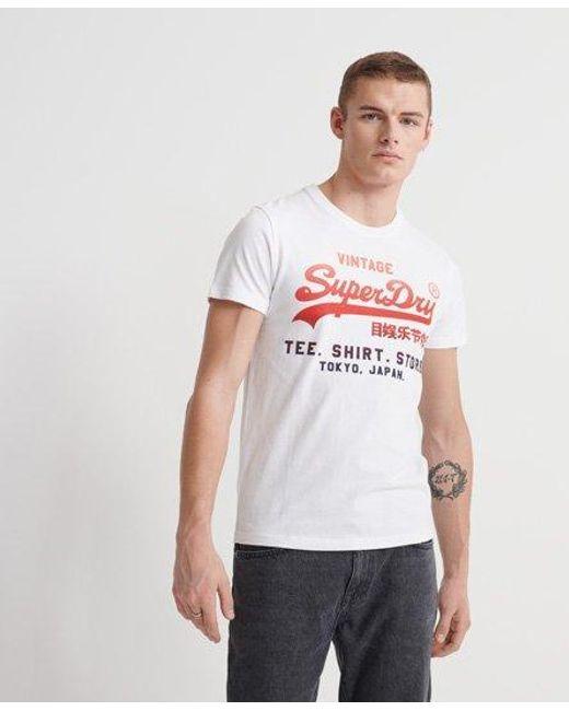 Superdry White Vintage Logo Fade T-shirt for men