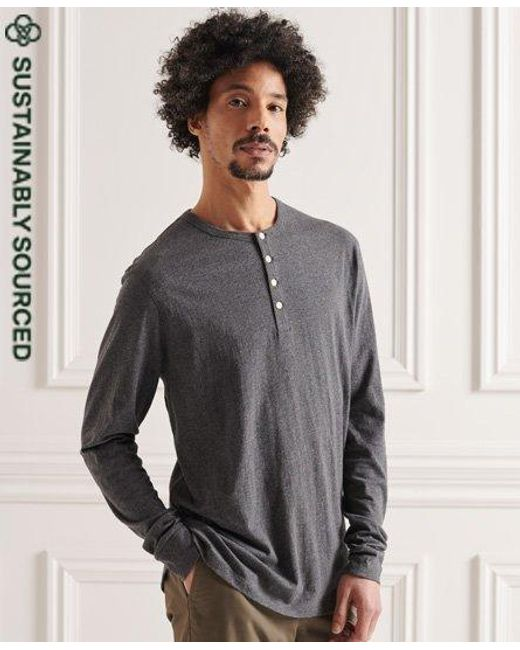 Superdry Gray Organic Cotton Lightweight Essential Henley Top for men