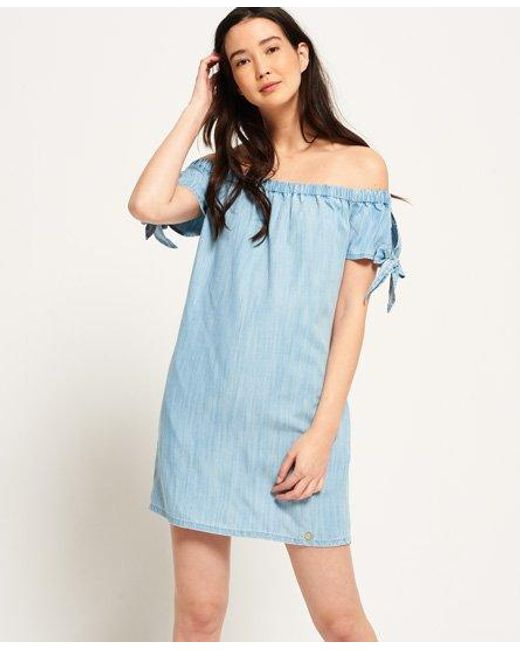 Superdry Blue Alexia Off Shoulder Dress