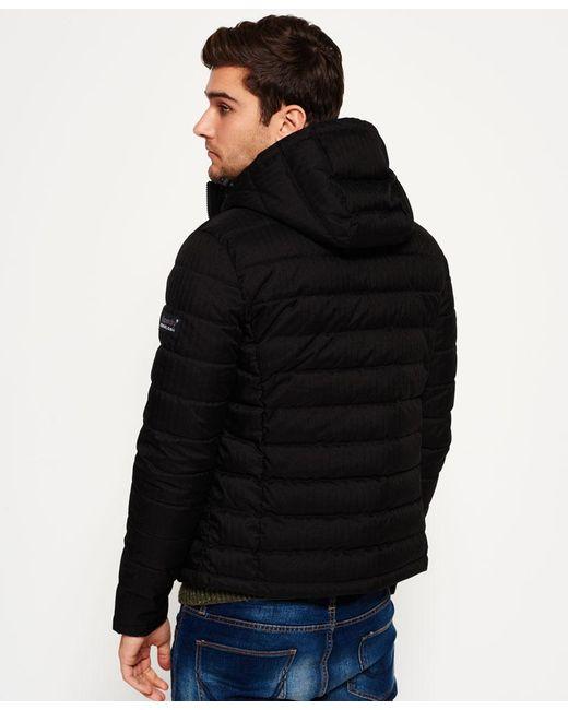 Superdry Fuji Double Zip Hooded Tweed Jacket In Black For