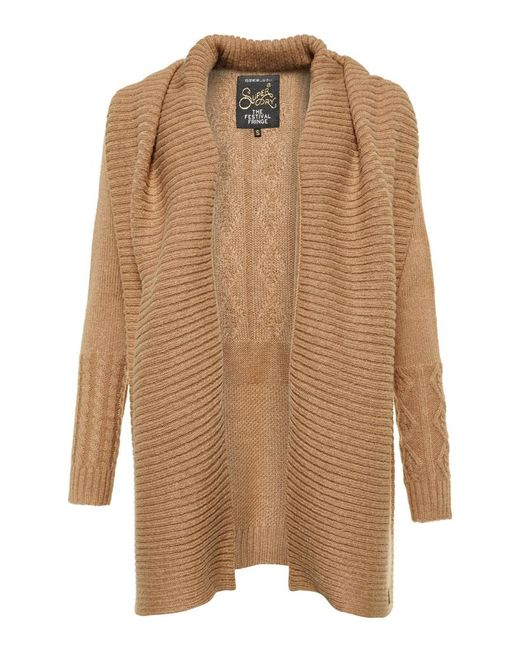Superdry Haden Cable Waterfall Cardigan | Lyst