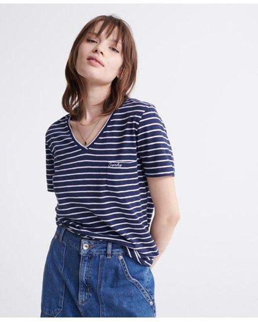 Superdry Blue Organic Cotton Essential V-neck T-shirt