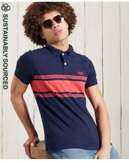 Superdry Blue Organic Cotton Vintage Chestband Jersey Polo Shirt for men