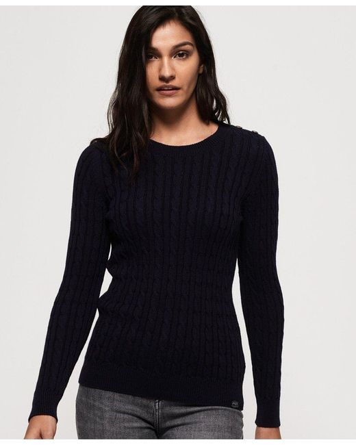 Superdry - Blue Croyde Bay Cable Knit Jumper - Lyst ... 8751a1165