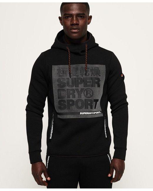 Men's Black Gym Tech Stretch Graphic Overhead Hoodie