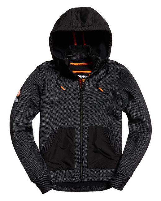 superdry mountain bonded zip hoodie in black for men. Black Bedroom Furniture Sets. Home Design Ideas
