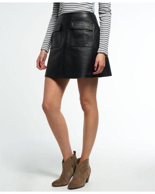 73ba6a1c27 Superdry - Black Billie Leather Pocket Skirt - Lyst ...