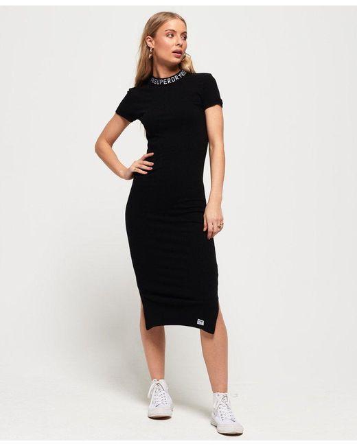 Superdry Black Jacquard Neckline Midi Bodycon Dress