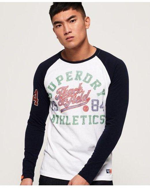 Superdry White Track & Field Long Sleeve Raglan T-shirt for men