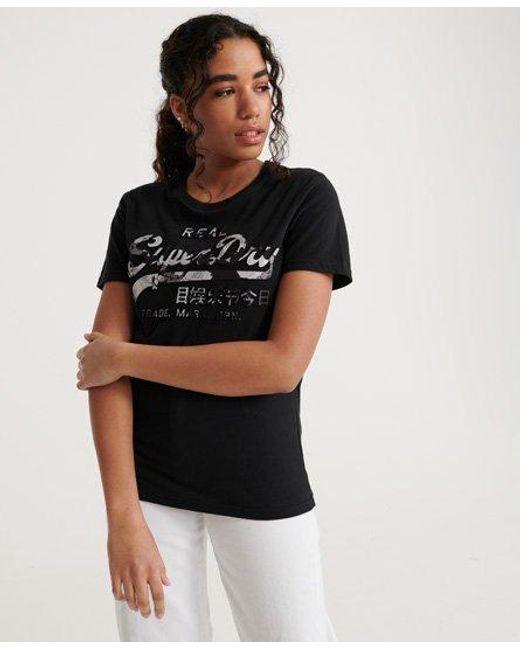 Superdry Black Vintage Logo Photo Rose T-shirt