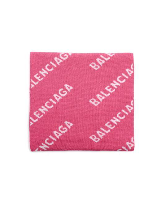 Розовый Шерстяной Шарф All Over Balenciaga, цвет: Pink