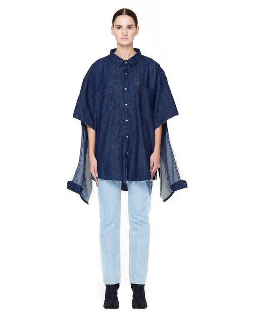 5e397954a49 ... Vetements - Blue Oversized Denim Shirt With Cuts - Lyst