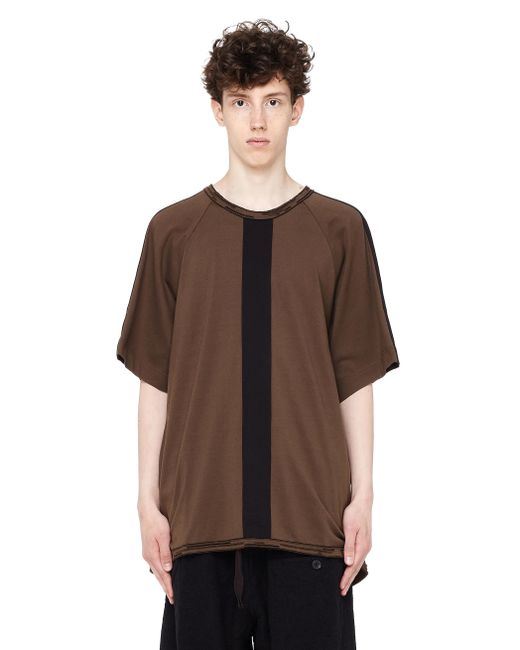 Ziggy Chen - Brown Cotton T-shirt With Decorative Stripes for Men - Lyst