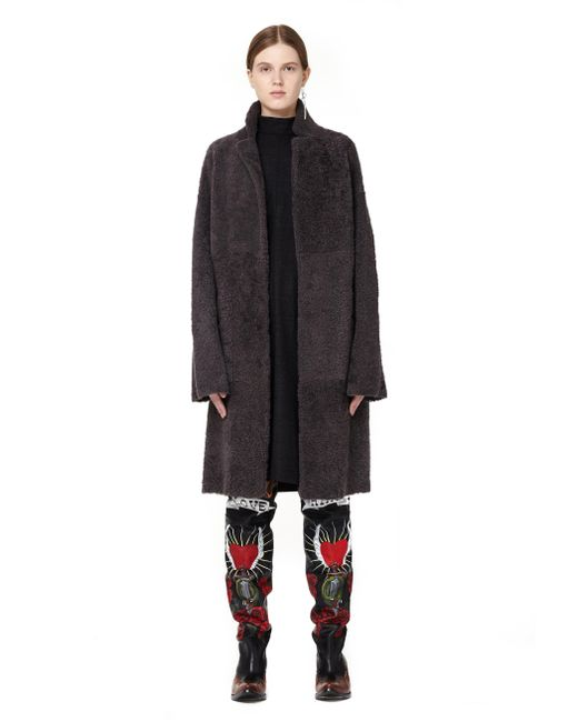 32 Paradis Sprung Freres - Gray Double-faced Shearling Coat - Lyst