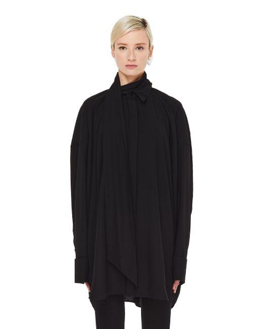 Черная Рубашка С Шарфиком Balenciaga, цвет: Black