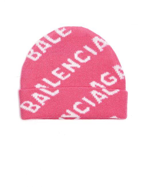 Розовая Шапка All Over Logo Balenciaga, цвет: Pink
