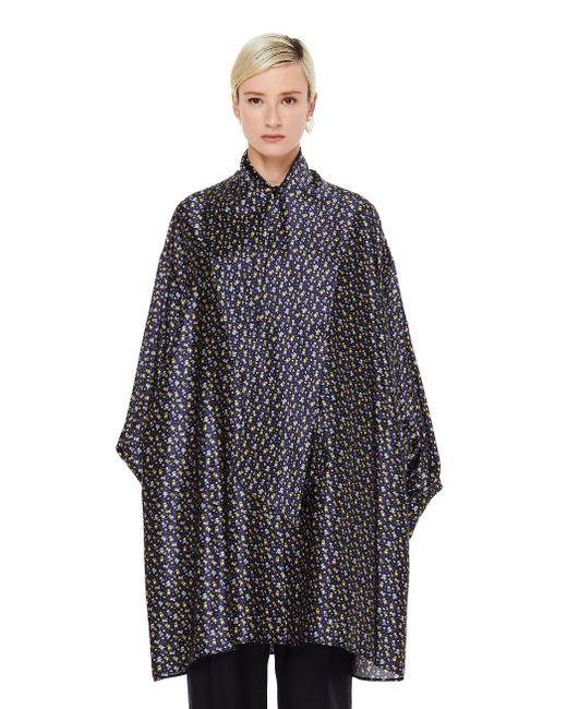 Шелковое Платье С Принтами Balenciaga, цвет: Blue