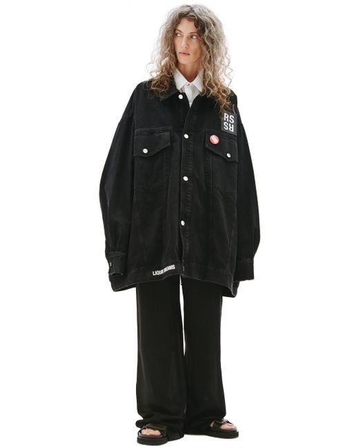 Черная Джинсовая Куртка Оверсайз Raf Simons, цвет: Black