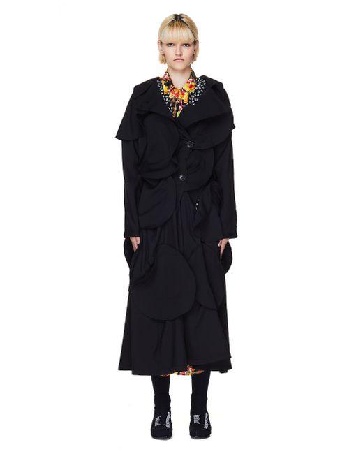 Yohji Yamamoto Black Yohji Yamamoto Wool Deconstructed Coat