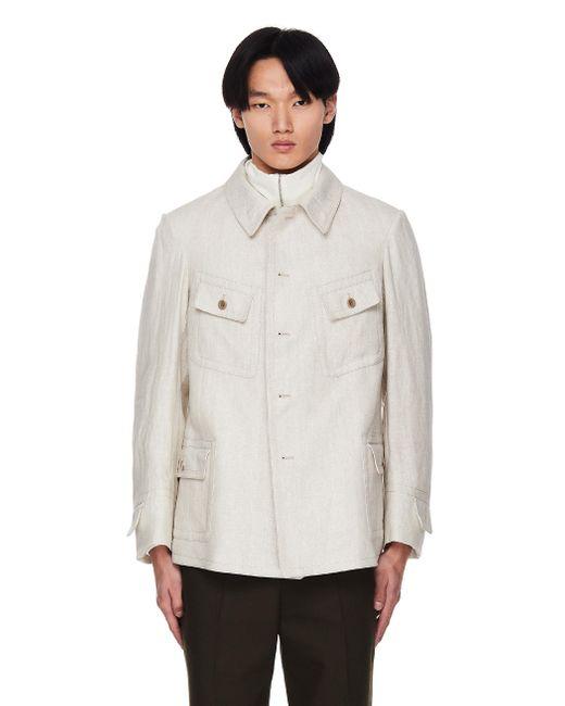 Льняная Куртка-рубашка С Карманами Maison Margiela для него, цвет: Natural