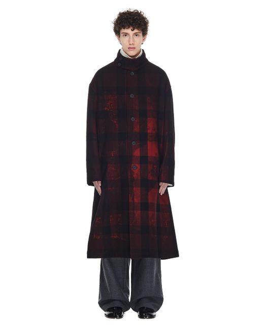 Yohji Yamamoto Red Checked Printed Coat for men