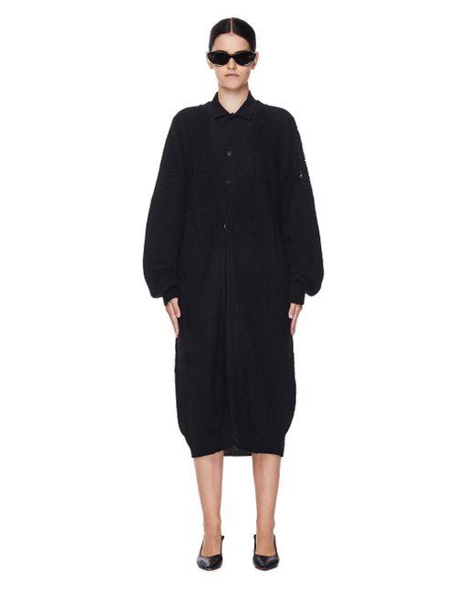 Y's Yohji Yamamoto Black Mohair & Wool Long Cardigan