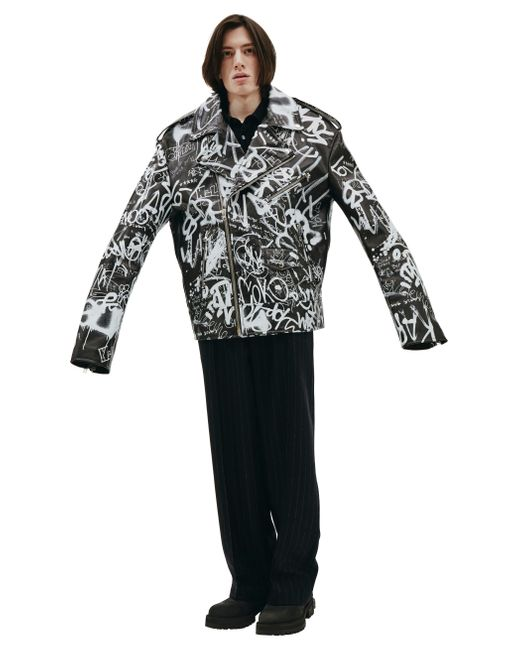 Vetements Black Leather Graffiti Jacket for men