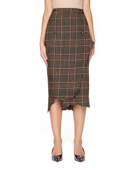 Vetements - Brown Distressed Checked Wool Wrap Skirt - Lyst