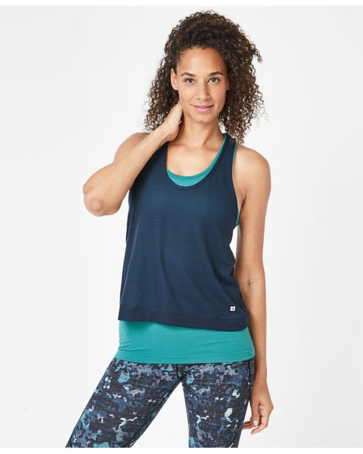 Sweaty Betty Blue Seamless Double Time Workout Tank