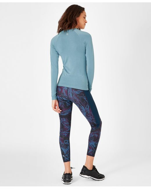 ca188c6f7dc70 ... Sweaty Betty - Blue Glisten Bamboo Long Sleeve Workout Top - Lyst