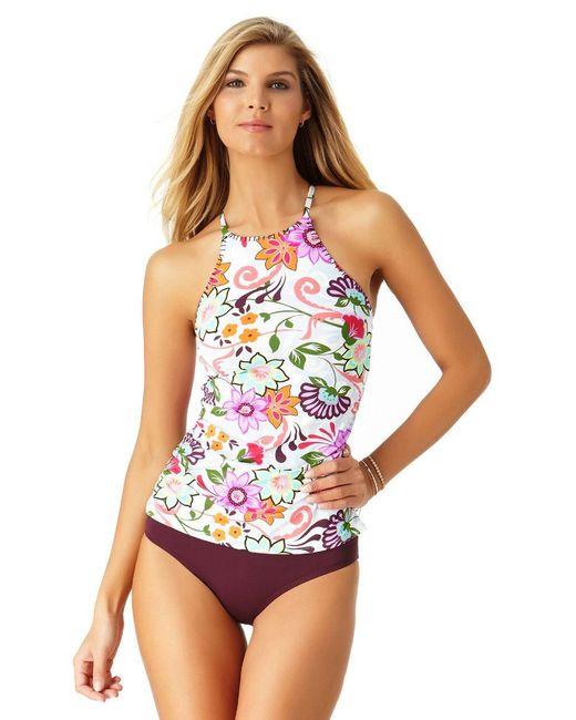 Anne Cole - Multicolor Fleetwood Floral High Neck Tankini Swim Top - Lyst