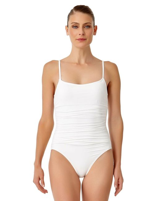 Anne Cole - White Live In Color Shirred Lingerie Maillot One Piece Swimsuit - Lyst
