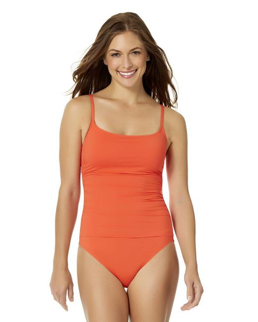 Anne Cole - Orange Shirred Maillot One Piece Swimsuit - Lyst