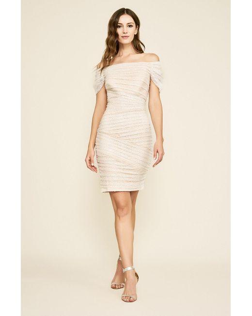 Tadashi Shoji White Wallis Sequin-embroidered Off-the-shoulder Dress