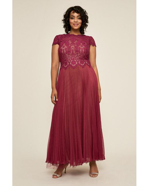 Women\'s Red Drusa Chiffon Lace Tea-length Dress - Plus Size