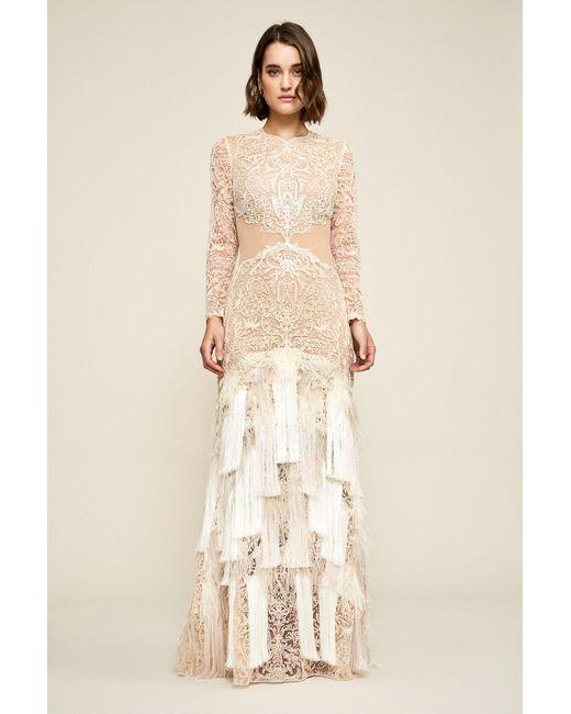 47a4de02b07a9 Tadashi Shoji - Natural Araceli Fringe Gown - Lyst ...
