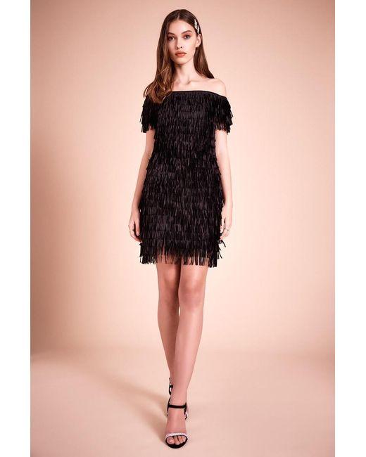 Tadashi Shoji Black Roxette Laser Cut Fringe Dress
