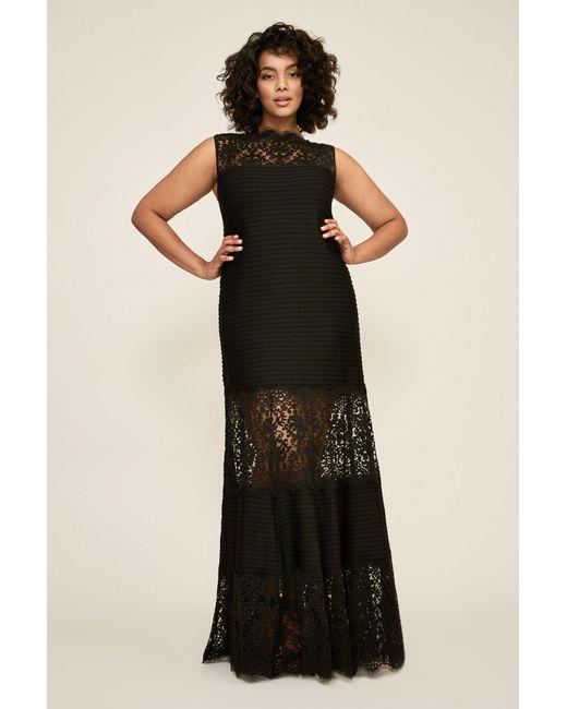 Lyst - Tadashi Shoji Pintuck Jersey Boatneck Gown - Plus Size in Black