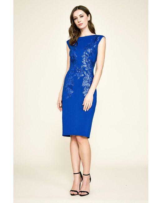 e91ee2b4e0b9 Tadashi Shoji - Blue Sacco Sleeveless Sequin & Neoprene Dress - Plus Size  ...