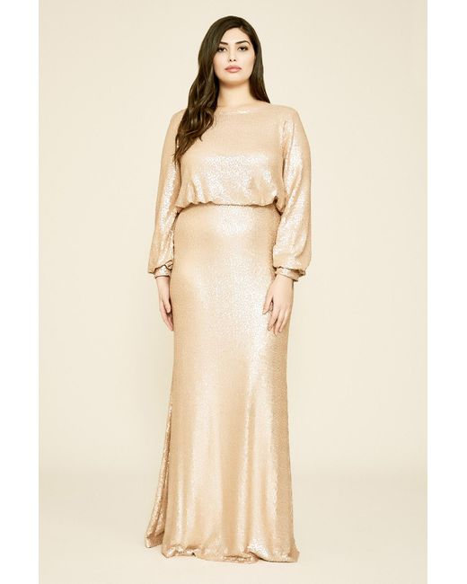 Revin Long-sleeve Sequin Gown - Plus Size