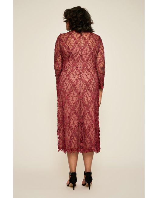 6e0d827daf3f9 ... Tadashi Shoji - Red Binx Embroidery Tea-length Dress - Plus Size - Lyst  ...