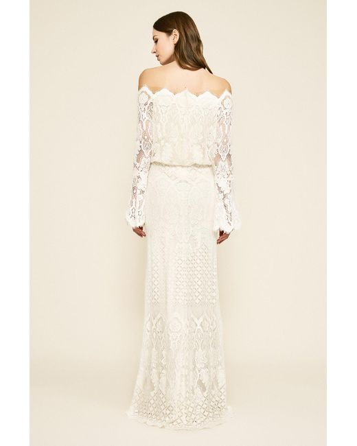 407422f3f2223 ... Tadashi Shoji - Natural Izumi Bell Sleeve Off-the-shoulder Lace Gown -  Lyst ...