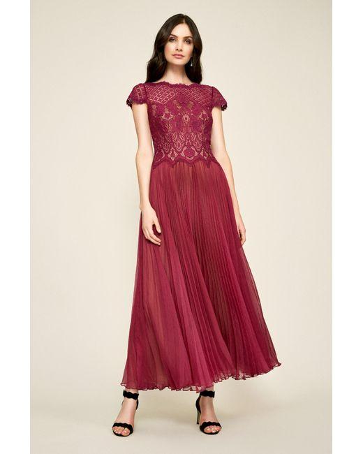 af89c1f21dfc Tadashi Shoji - Red Drusa Chiffon Lace Tea-length Dress - Lyst ...