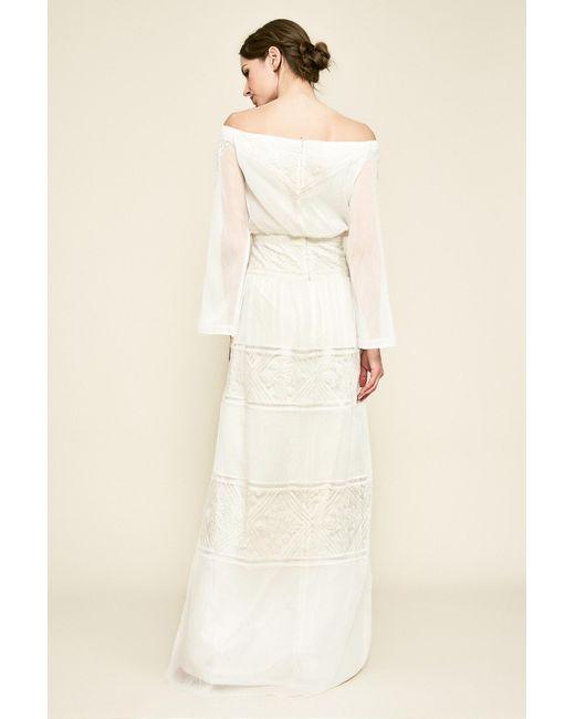 599e8af0a5fcd ... Tadashi Shoji - Natural Seles Off-the-shoulder Crinkle Chiffon Gown -  Lyst ...