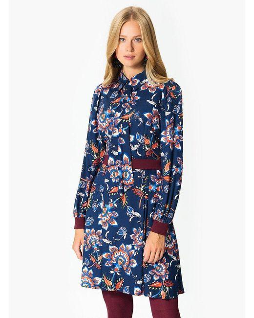 Roman Blue Floral Lantern Sleeve Minidress