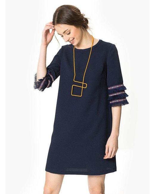 Roman Blue Tassel Sleeve Shift Dress