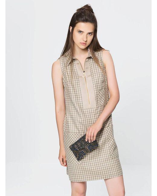 Roman Natural Plaid Wool Dress
